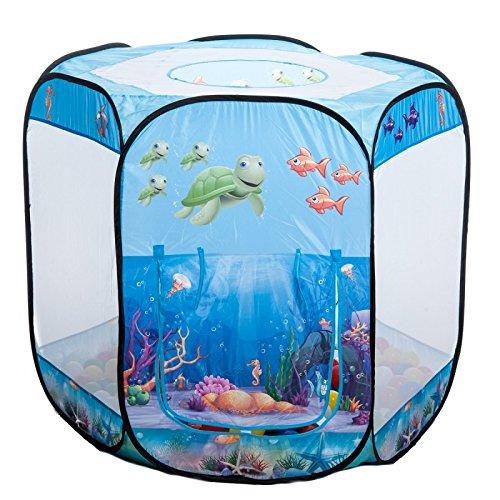 aussergewoehnlich® UW-HB UNTERWASSERWELT 6-eck Bällebad pop up Zelt mit 100 bunten Bällen in 10 Farben