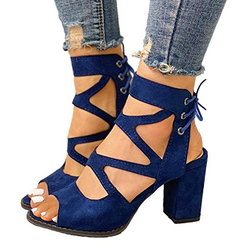 Ramonala Damen High Heels High Heels Sandalen Mode Schnürung Dicker Absatz Schnürsandalen Urlaubsreise Freizeitbüro High Heels Damenschuhe Schwarz Blau Größe 34-43