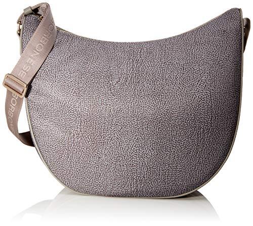 Borbonese Luna Bag Medium, Borsa a tracolla Donna, Grigio (Grigio...
