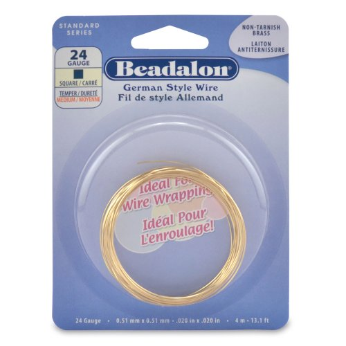 Beadalon 4 m Calibre 24 carré anti ternissement fil en laiton