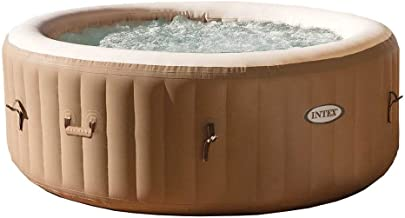 Intex PureSpa 4-Person Inflatable Bubble Jet Spa Portable Hot Tub, Tan   28403E Removable Slip-Resistant Seat for Inflatable Pure Spa Hot Tub   28502E (2 Pack)
