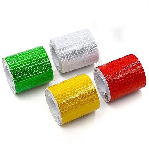 5cm*3m 4 Stück Reflektorband Klebeband Sicherheit Warnklebeband für Sicherheit Warnung Straßentransport Fahrzeuge Schiffe Fairways (Rot Gelb Weiß Grün)
