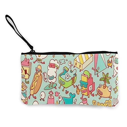 Yuanmeiju Unisex Summer UP Zipper Canvas Coin Purse Wallet, Make Up Bag, Bolso para teléfono móvil con asa