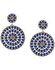 JFL - Jewellery for Less Floral Gold Plated Stone And Diamond Studded Dangler Earrings For Women