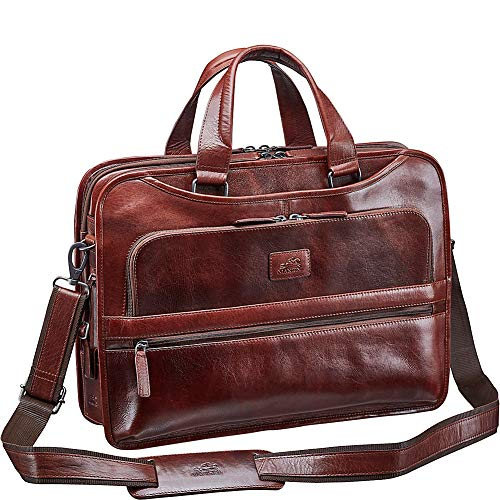 Mancini Leather Goods Vanizia Laptop/Tablet Triple Compartment Briefcase with
