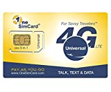 OneSimCard Universal 3-in-one SIM Card for use in Over 200 Countries with $5 Credit – Voice, Text and Mobile Data as Low as $0.01 per MB. Compatible with All Unlocked GSM Phones. 4G in 50+ Countries.