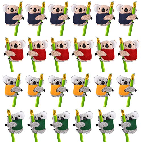 24 Pieces Koala Clip On Pencil Clips Animal Plush Pencil Clips Clip-On Critter Animal Clip with 4 Different Colors for Home Office Supplies