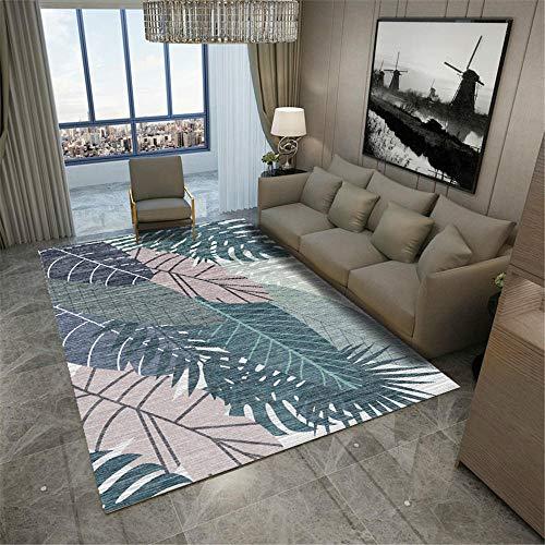 alfombras de Cocina Lavables Alfombra con diseño de Hojas de Color Gris Azulado, Antideslizante y Resistente a la decoloración para Sala alfombras para baños Antideslizante para alfombras 160*230cm