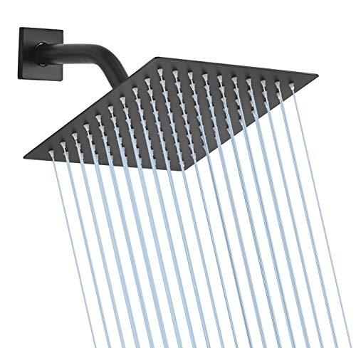 GGStudy - Cabezal de ducha cuadrado de acero inoxidable de 10.0in, cabezal de ducha de estilo lluvia, color negro, diseño ultrafino, mejor impulso de presión