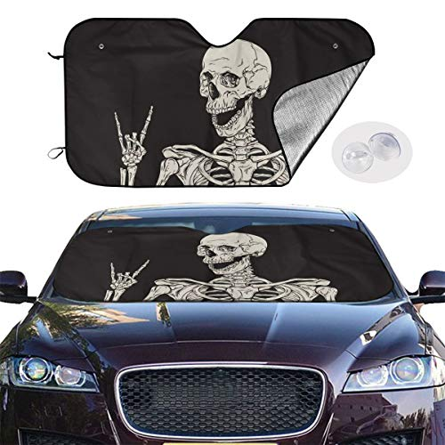 TOLUYOQU Rock and Roll Skeleton Skull Boho Hippie Car Windshield Sunshade Folding Sun Visor Protector Blocks Heat and Sun Keep Your Vehicle Cool