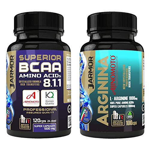 2 integratori J.ARMOR | SUPERIOR BCAA 8.1.1 120 capsule Kyowa Ajinomoto con Vitamina B6 + Integratore Aminoacido ARGININA AJINOMOTO 100 capsule | Capsule a Rilascio Istantaneo da 1g