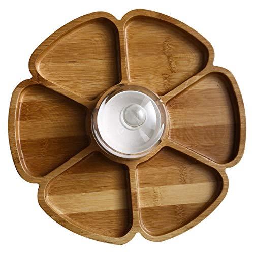 Chip und Dip Servierschale, Holz Appetizer Platter Set mit Dip-Schale, Geteilt Serviertablett, für Salsa, Guacamole, Nacho, Gemüse, Taco-Chips, Snacks und mehr,No Grid