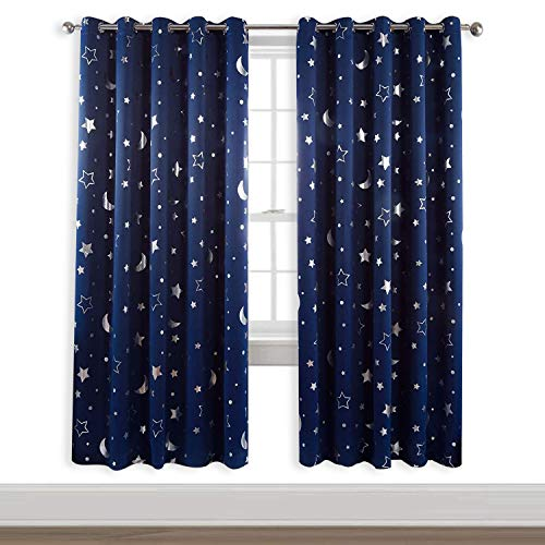 WUBODTI Navy Blue Room Darkening Curtains 2 Panel Sets for Boys Bedroom Nursery Living Room, Silver Star Blackout Kids Curtain Light Blocking Grommet Thermal Insulating Window Treatments