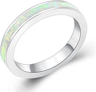 Eternity Ring Australia Fire Opal Silver Plated 3.5mm Wedding Band Jewelry for Women