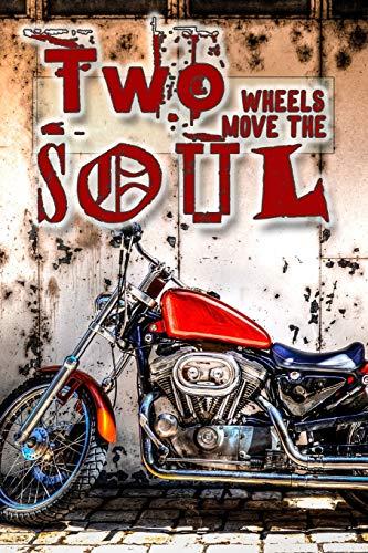 Two wheels heal the soul: Biking lined journal notebook for motorbike, motorcross, trails bike, pit bike, quad bike and racing bike motor sport ... - Vintage red bike in street cover art design