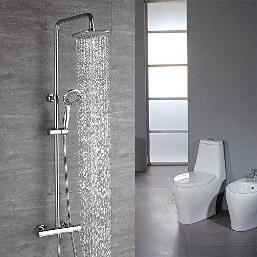 HOMELODY Duschsystem mit Thermostat Regendusche,Duscharmatur Thermostat Mischer mit Regendusche und Handbrause,Duschset Anti-Verbrühungs-Duschsystem