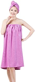 Women's Spa Wrap Set Cozy Terry Cloth Bath Towel Cover-up Bathrobe with Drying Hair Hat