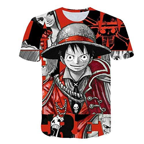 MTXD One Piece Anime T Shirt 3D Impreso Hombre Manga Corta Camiseta Relajada Top