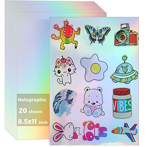 20 Hojas de Papel Adhesivo Holográfico Imprimible para Impresora de Inyección de Tinta e Impresora Láser Papel de Pegatina Autoadhesivo Iridiscente de 8,5 x 11 Pulgadas Etiqueta Adhesiva