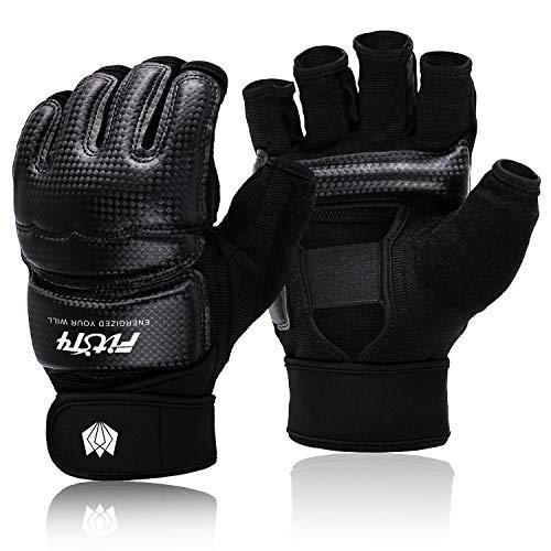 FitsT4 MMA Handschuhe Boxhandschuhe gepolstert, Trainingshandschuhe Boxsack Sandsack Kickboxen Kampfsport Taekwondo Sparring mit Handgelenkschutz für Herren Damen, Schwarz