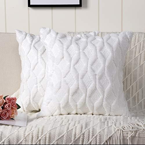 Madizz Juego de 2 Suave Felpa Lana Corta Terciopelo Decorativo Funda de cojíns Lujo Estilo Fundas de Almohada para el sofá Dormitorio Blanco Cuadrado 60 x 60 cm