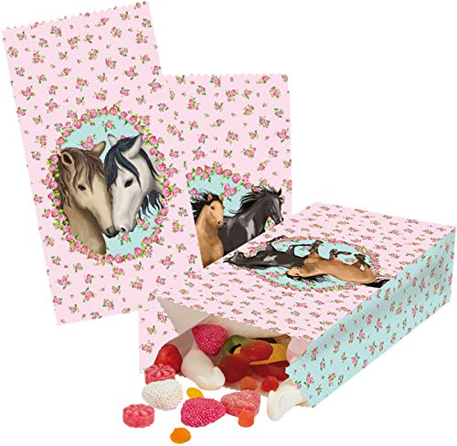 8 Partytüten * Pferde * aus Papier für Kindergeburtstag und Mottoparty   Plus 8 Sticker zum Verschließen   Pferdefreunde Reiten Pony Ponyhof Kinder Geburtstag Mitgebsel Tüten Party