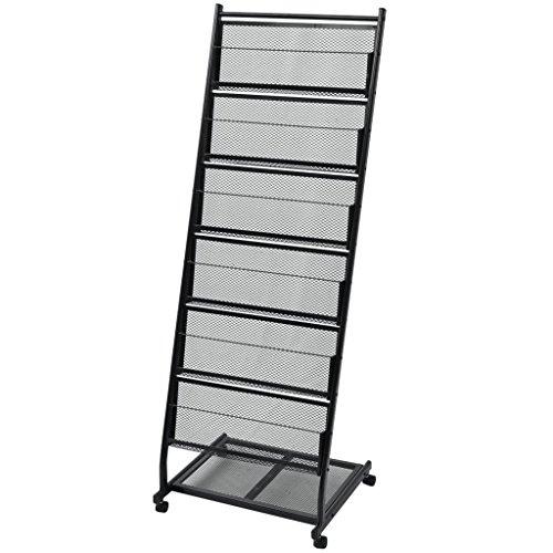 Festnight Prospektständer Prospekthalter aus Stahl A4 mit Rollen 47,5 × 43 × 133 cm Schwarz