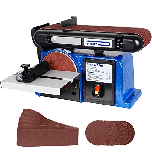 BILT HARD Belt Disc Sander Combo, 4 x 36 Inch Belt and 6 Inch Disc Sander for Woodworking with 14 Piece Sanding Paper Kit and Cast Iron Base