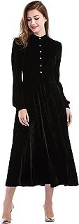 CHIC DIARY A-line Dresses for Women Wedding Evening Party Velvet Swing Vintage Long Sleeves Midi Dress