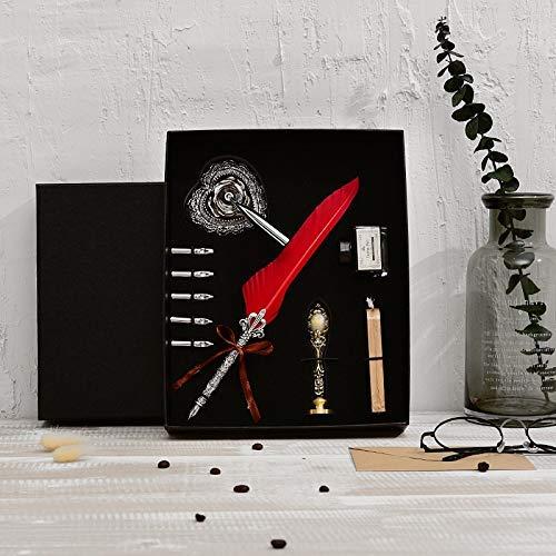 DHTOMC Pluma estilográfica de alta gama, pluma de caligrafía, con 5 plumas, para plumas, papelería, tinta LCMUS (color: rojo vino, tamaño: gratis)