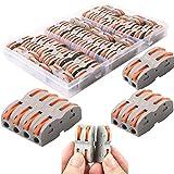 CESFONJER Bornes de Connexion Automatique, Rapide Connecteur de Fil de Câble, Connecteur à Ecrou à Levier, Assortiment de Conducteurs Connecteurs de Fils Compacts SPL-1 (42 Pièces)