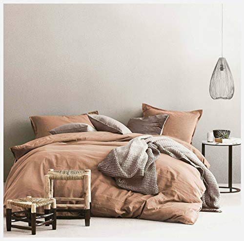 Eikei Washed Cotton Chambray Duvet Cover Solid Color Casual Modern Style Bedding Set Relaxed Soft Feel Natural Wrinkled Look (Queen, Copper Dust)