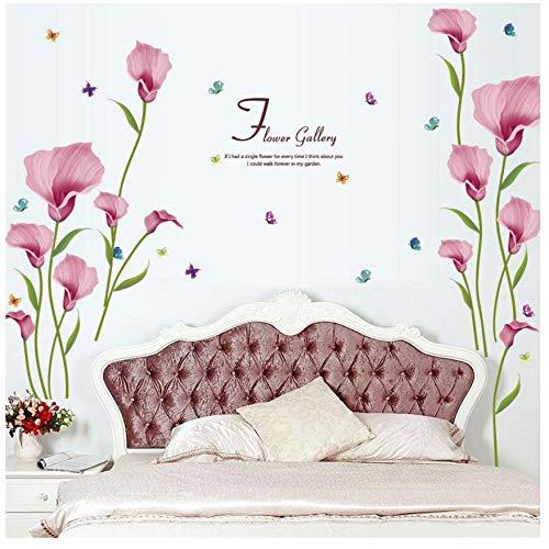 MINGKK - Adhesivo decorativo para pared con cita de flores, extraíble, para dormitorio, salón, cuarto de baño, azulejos de cristal, decoración de pared, adhesivo decorativo