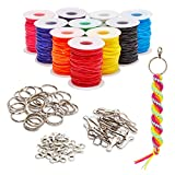 Lanyard Kit, Plastic String for Bracelets, Necklaces, with Keychains (40 Yards, 100 Pieces)