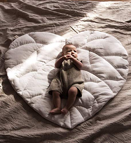 Lowest Price! Linen white heart leaf quilted play mat