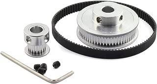 HJ Garden GT2/2GT Timing Pulley Belt Set 20Teeth 60Teeth Closed-Loop 200mm Aluminium Alloy Synchronous Wheel for 6mm Width Belt 3D Printer CNC Mechanical Drive