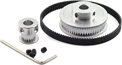 HJ Garden GT2/2GT Timing Pulley Belt Set 20Teeth 60Teeth Closed-Loop 200mm Aluminium Alloy Synchronous Wheel for 6mm Width Belt 3D Printer CNC Mechanical Drive