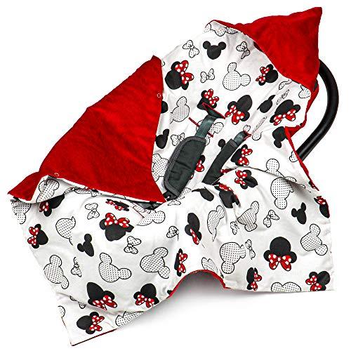 Einschlagdecke Babyschale 90x90 cm Velvet - universal Frühling Sommer Baby Babydecke z. B. für Maxi Cosi Buggy Autositz Baumwolle Öko-Tex (Rot Velvet mit Maus Motiv)