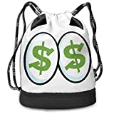 Multifunctional Drawstring Backpack for Men & Women, Green Dollar Signs In Big Cartoon Eyes Greed For Money Penny Pincher,Travel Bag Sports Tote Sack with Wet & Dry Compartments