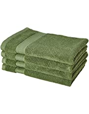 Amazon Brand - Solimo Bamboo Bliss 4 Piece Hand Towel Set, 575 GSM (Sage Green)