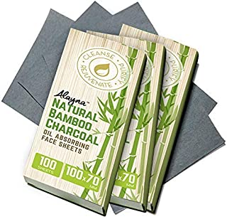 (3 PK) Oil Blotting Sheets- Natural Bamboo Charcoal Oil Absorbing Tissues- 300 Pcs Organic Blotting Paper- Beauty Blotters for the Face- Papers Remove Excess Shine- For Facial Make Up & Skin Care