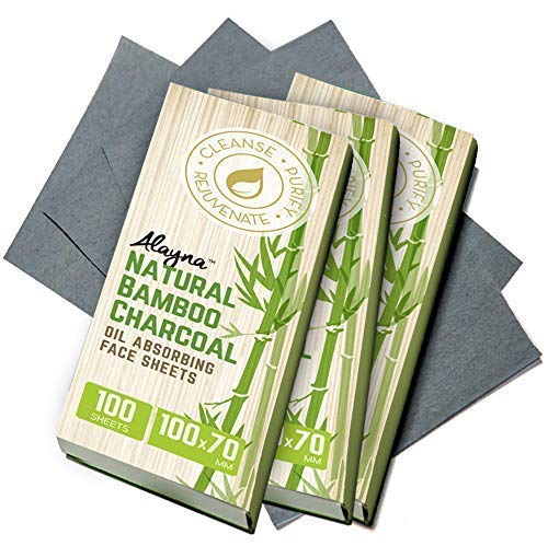 (3 PK) Oil Blotting Sheets- Natural Bamboo Charcoal Oil Absorbing Tissues- 300 Pcs Organic Blotting...