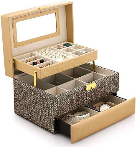 Regalo para mujer Cajas de joyería Caja de joyería de cuero Muestra la gran capacidad con el espejo Caja de almacenamiento versátil de moda portátil para joyería Regalos de Año Nuevo (Color: Oro)