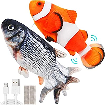 MOLATIN 2 Pack Electric Flopping Fish Cat Toy,Wagging Fish Catnip Kicker Toys,Realistic Plush Simulation Motion Moving Fish,Interactive Pets Pillow Chew Bite Kick for Kitten Kitty Cats Indoor Exercise