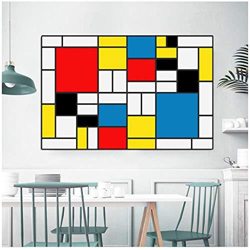 Impresión en HD Pintura de Lienzo de Arte Abstracto Impresiones Modernas Cartel de Piet Mondrian Cuadros de Pared para decoración de Sala de Estar -70x140cm Sin Marco