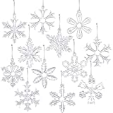 Style Glass Clear Glass Snowflake Ornament Winter Christmas Tree Hanging Decorations (12 Pieces).