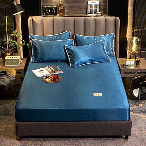 Nuoxuan Cajón para Colchón Extra Alto,Ropa de Cama de Tres Piezas de Color sólido de poliéster, Dormitorio de apartamento Doble tamaño King-Azul 1_180 * 200 cm