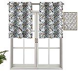 Hiiiman Cortinas opacas con ojales, diseño de fauna y flora exótica, juego de 1, 127 x 45 cm para sala de estar, dormitorio, decoración del hogar