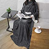 PAVILIA Deluxe Fleece Blanket with Sleeves for Adult, Men, and Women| Elegant, Cozy, Warm, Extra Soft, Plush, Functional, Lightweight Wearable Throw (Charcoal)