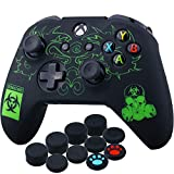 YoRHa Grabado Láser Silicona Caso Piel Fundas Protectores Cubierta para Xbox One S/X Mando x 1 (BH) con Los Puños Pulgar Thumb Gripsx 10